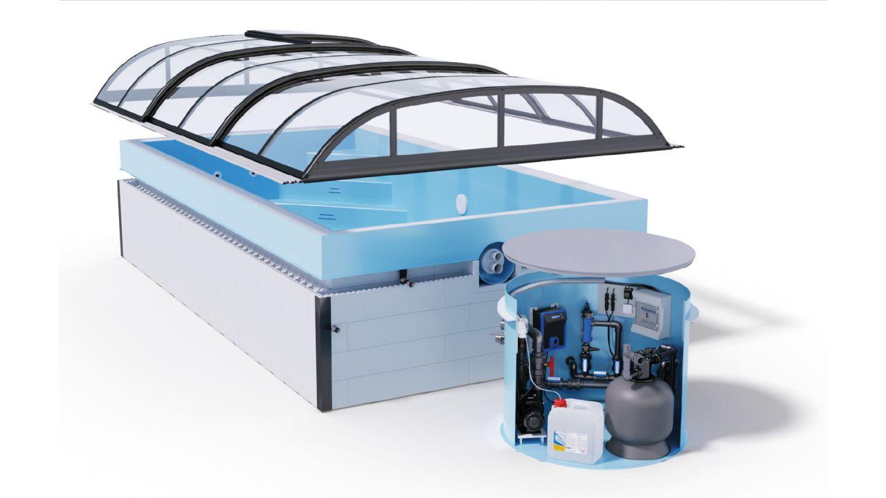 Albixon QBIG Benefit Plus Skimmerbecken 3,5x7x1,2m Komplettset